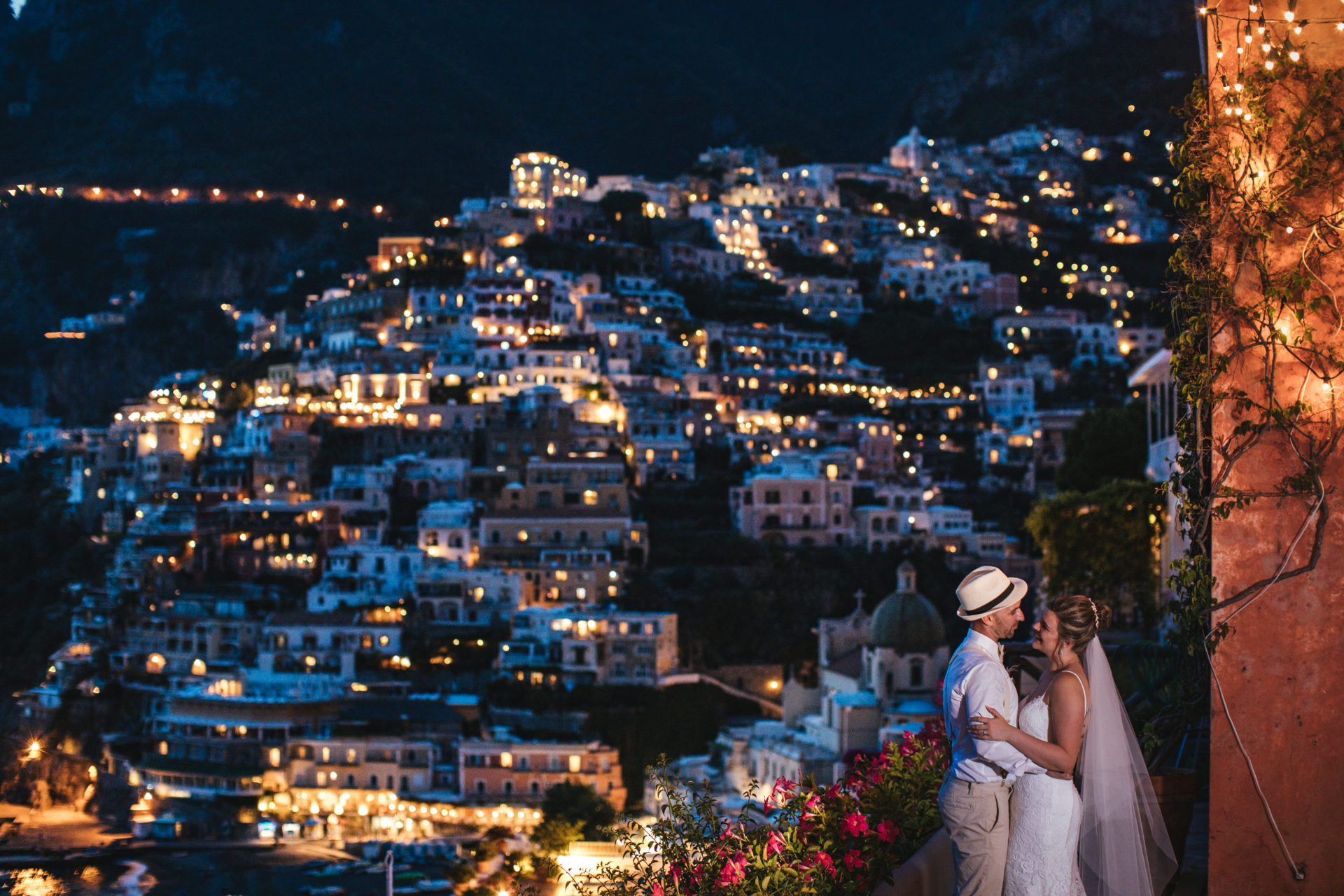 positano wedding at night